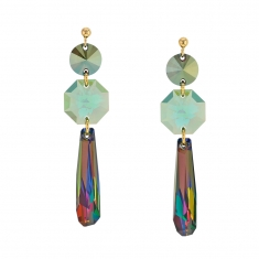 Boucles d'oreilles en argent doré 925/1000 Swarovski Elements Iridescent green, Antique green