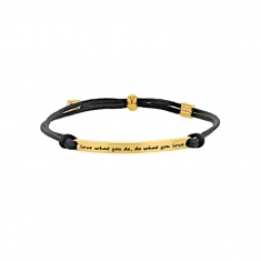 Bracelet Love what you do, do what you love en acier doré et cordon synthétique noir