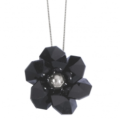 Collier Grande Fleur en argent rhodié 925/1000 et Swarovski Elements Silver night