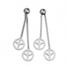 Pendants motif Peace and Love en argent rhodié 925/1000